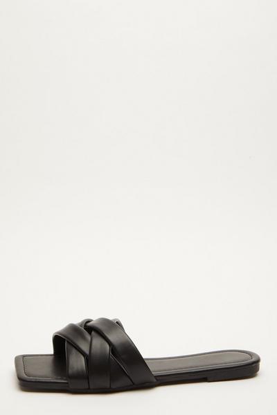 Black Faux Leather Woven Mule Sandals