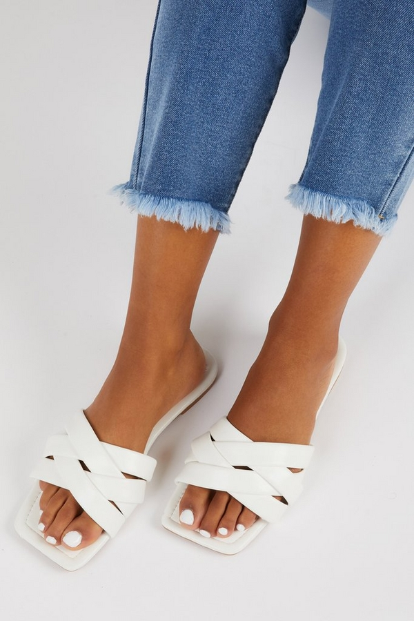 White Faux Leather Woven Mule Sandals
