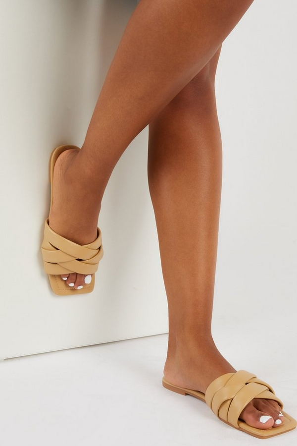 Nude Faux Leather Woven Mule Sandals