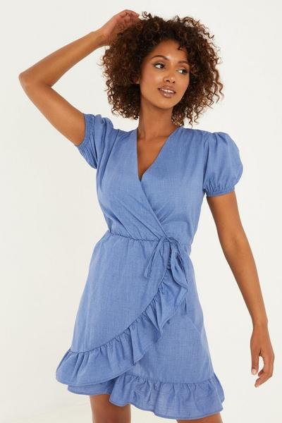 Blue Chambray Wrap Skater Dress