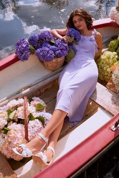 Lilac Chiffon Frill Midi Dress