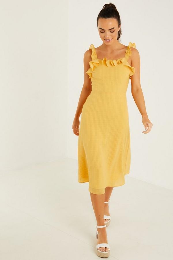 Yellow Chiffon Frill Midi Dress