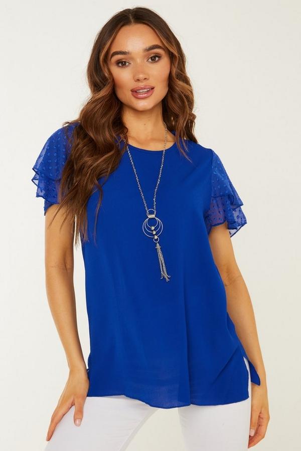 Royal Blue Chiffon Necklace Top