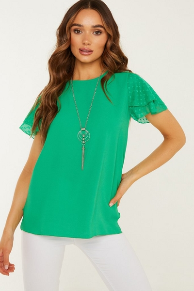 Green Chiffon Necklace Top