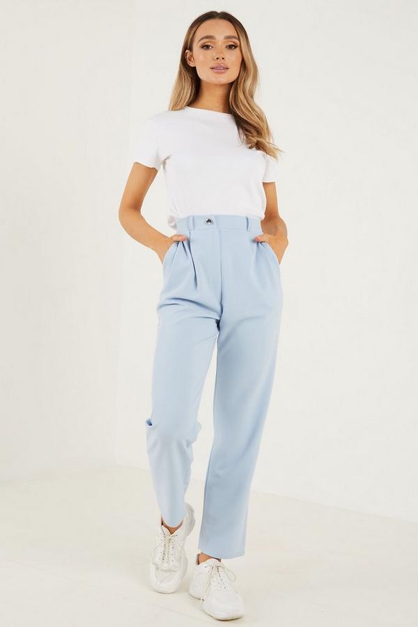 Pale Blue Scuba Crop Trousers