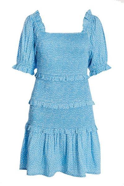 Blue Shirred Smudge Spot Print Dress