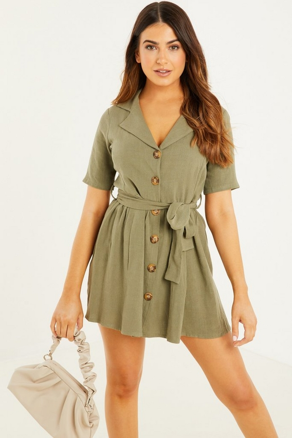 Petite Khaki Linen Skater Dress