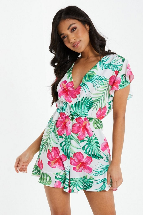 Petite White Tropical Frill Playsuit