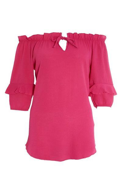 Pink Tie Bardot Top