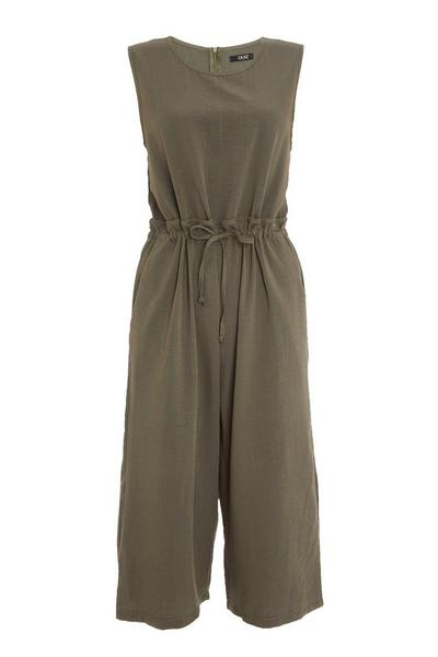 Khaki Sleeveless Culotte Jumpsuit