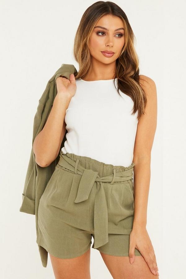 Khaki Linen Paperbag Shorts