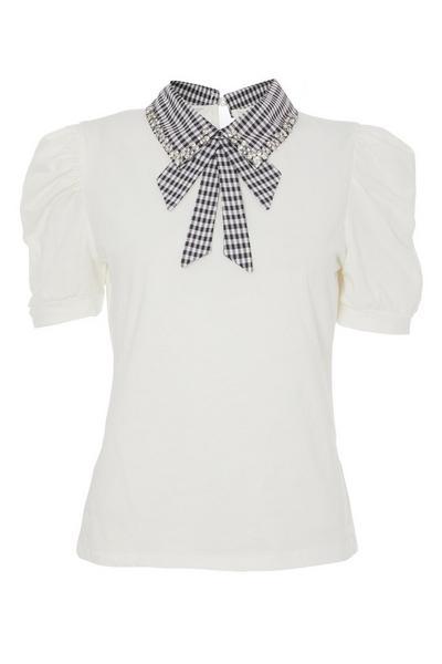 White Gingham Collar Top