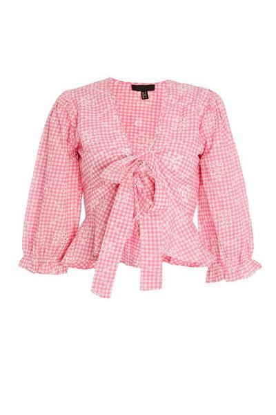 Pink Gingham Tie Front Top