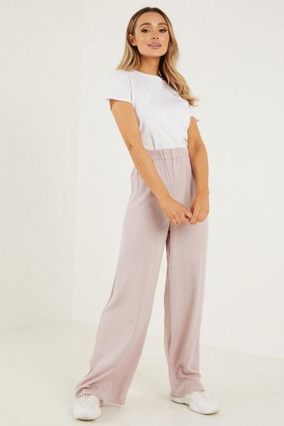 Blush Wide Leg Elastic Waist Trouser