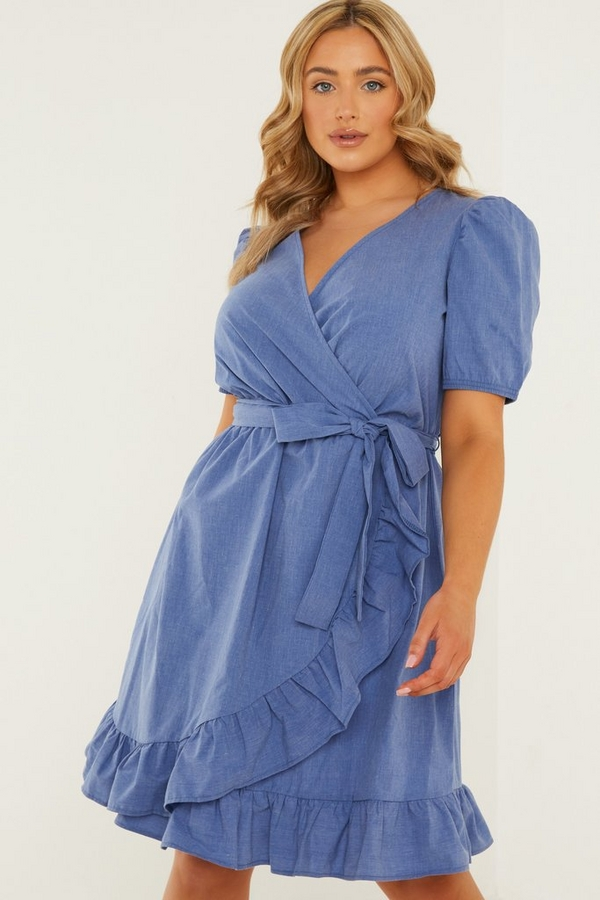 Curve Blue Chambray Wrap Skater Dress