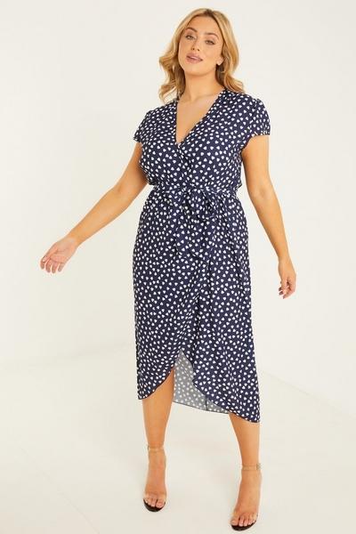 Curve Navy Heart Print Midi Dress