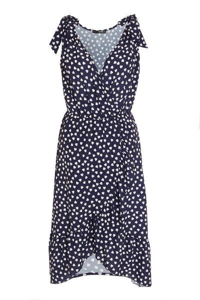 Navy Heart Print Midi Dress