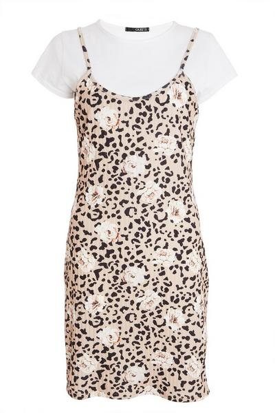 Stone Animal Print Bodycon Dress
