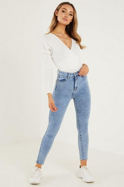 Cream Rib Long Sleeves Wrap Bodysuit