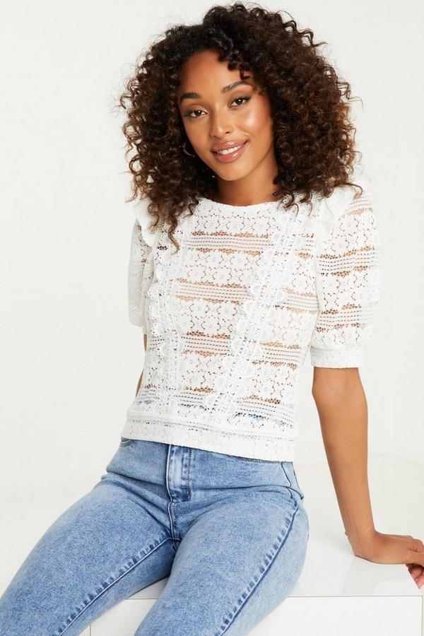 Cream Lace Frill Shoulder Top