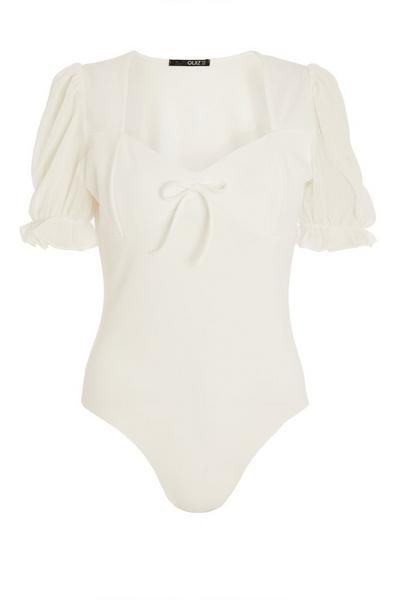 White Puff Sleeve Bodysuit
