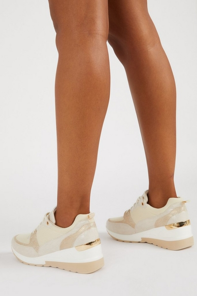 Nude Faux Leather Wedge Trainer
