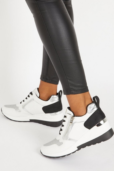 White Faux Leather Zip Wedge Trainer