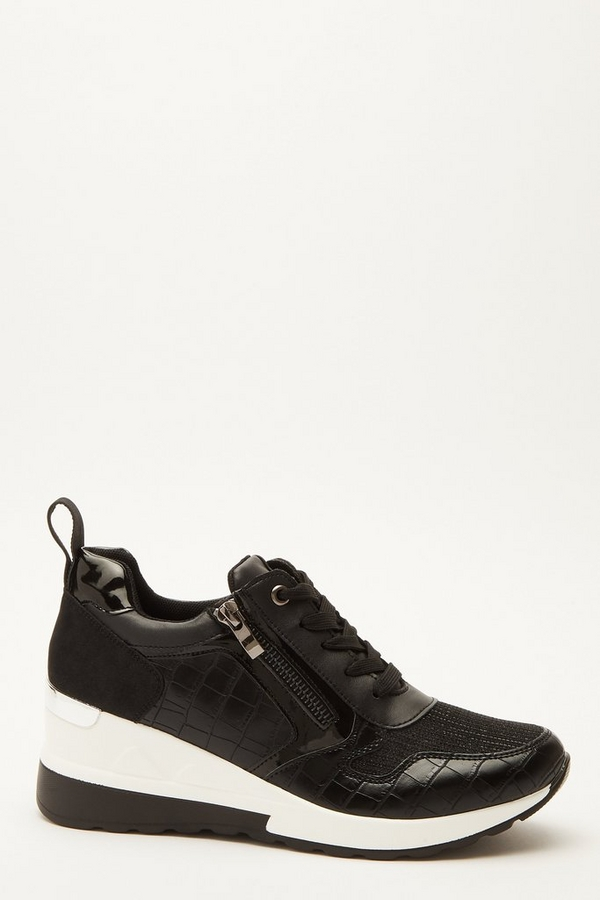 Black Faux Leather Zip Wedge Trainer
