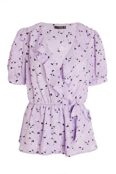 Lilac Floral Wrap Top