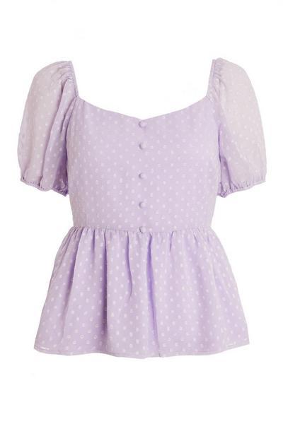 Lilac Chiffon Peplum Top