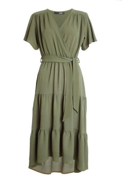 Khaki Wrap Dip Hem Dress