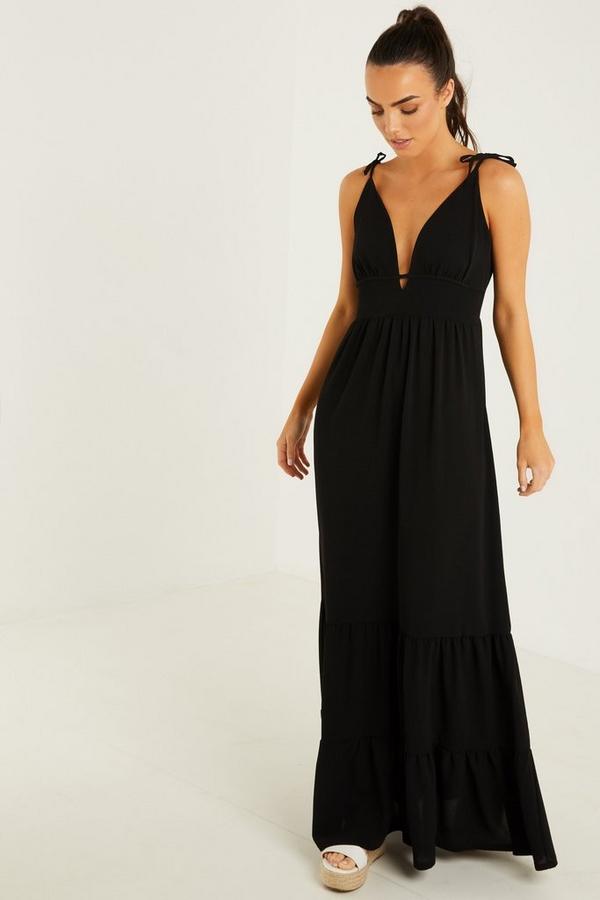 Black Tiered Maxi Dress
