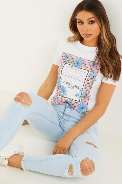 White Floral Print T Shirt