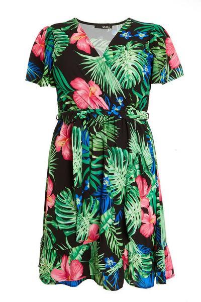 Curve Black Tropical Wrap Dress