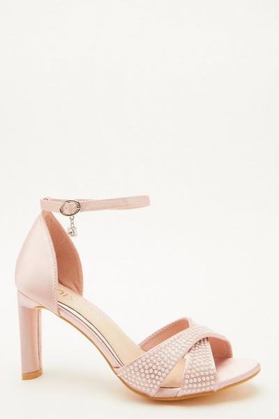 Wide Fit Pink Diamante Heeled Sandal