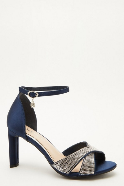 Wide Fit Navy Diamante Heeled Sandal