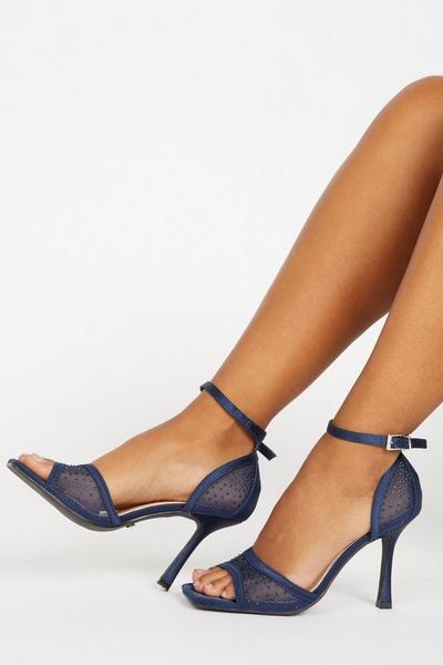 Navy Satin Heeled Sandals