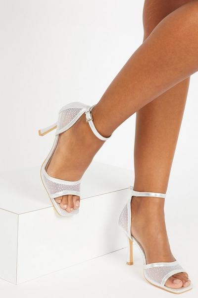 Silver Shimmer Heeled Sandals