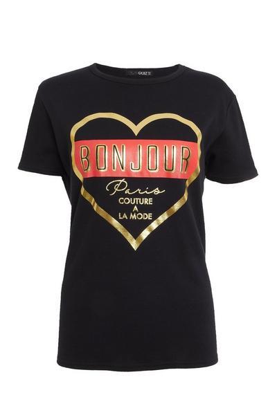 Black Slogan T Shirt