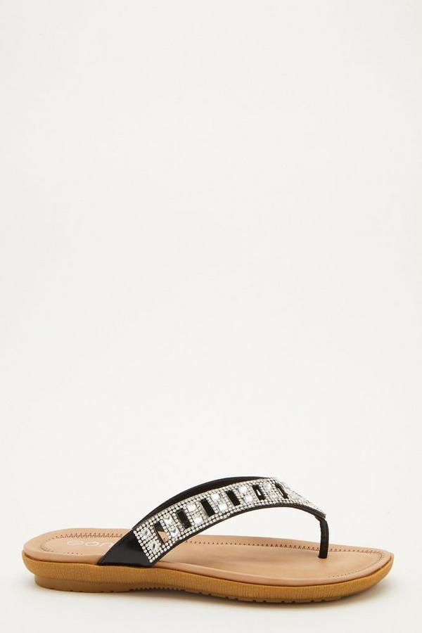 Comfort Wide Fit Black Embellished Sandals