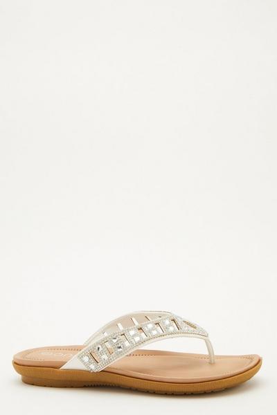 Comfort Wide Fit White Embellished Sandals