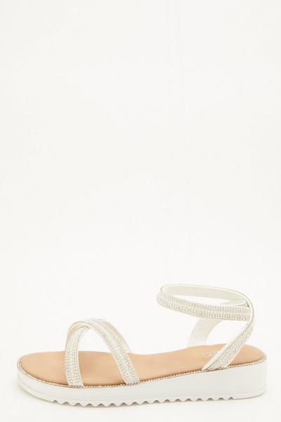White Embellished Flatform Sandals