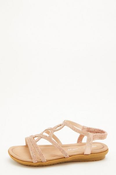 Comfort Wide Fit Rose Gold Diamante Sandals