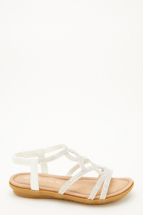 Comfort Wide Fit White Diamante Sandals