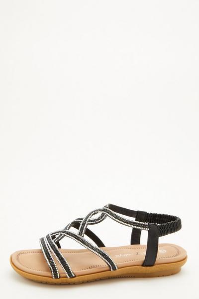 Comfort Wide Fit Black Diamante Sandals