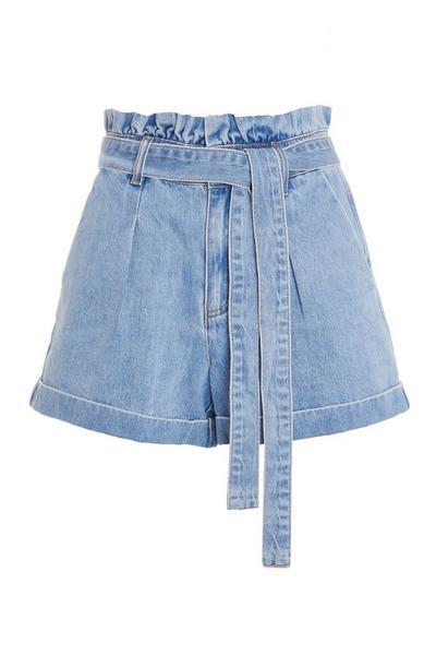 Blue Denim Paperbag Shorts