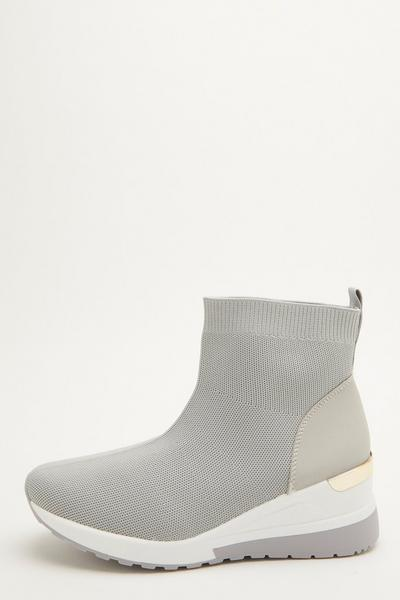 Grey Knit Wedge Sock Trainer