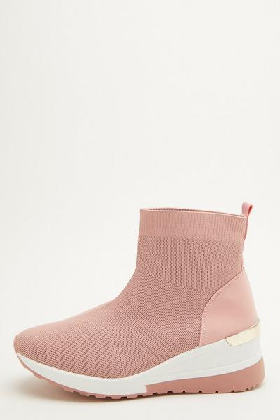 Pink Knit Wedge Sock Trainer