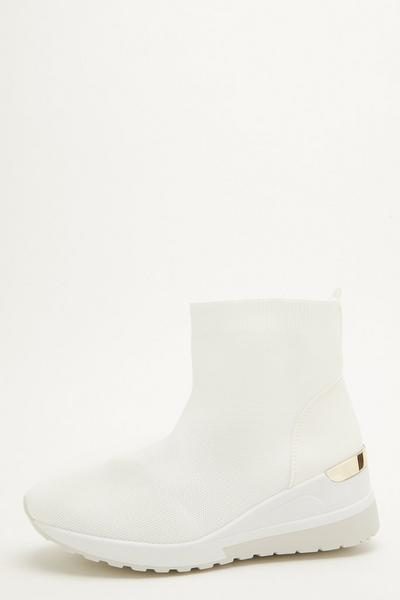 White Knit Wedge Sock Trainer