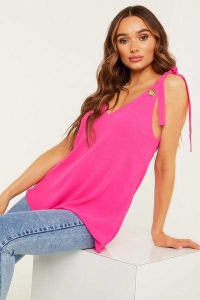 Pink Chiffon Cami Top